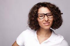 Mode de vie, affaires et concept de personnes : femme d'affaires en verre Photos stock