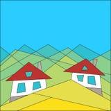 Mode de vie de montagne Chambres dans les montagnes Style plat geometry Image de vecteur illustration libre de droits