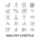 Mode de vie sain, vie active, nourriture naturelle, soins de santé, bien-être, ligne icônes d'exercice Courses Editable Conceptio Photographie stock libre de droits