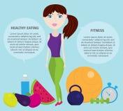 Mode de vie sain avec les icônes saines de nourriture, haltère, fruits, camping, forme physique Photos stock