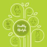 Mode de vie sain d'Infographics avec les icônes saines de nourriture, haltère, fruits, campant Photo stock