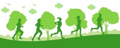 Mode de vie sain, groupe de fonctionnement d'athlètes - Images stock