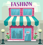 Mode för kvinnan för vektortecknade filmen shoppar kvinnligt illustrationen Royaltyfri Fotografi