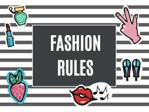 Mode-Flecken eingestellt Mode-Regeln Moderner Knall Art Stickers Lippen, Hand Erdbeere Auch im corel abgehobenen Betrag Stockfotografie