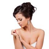 Mode-Frauen-Profil-Porträt. lizenzfreies stockbild