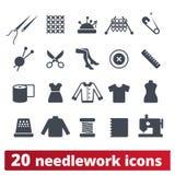 Mode handarbete, sömnad- och stickasymboler royaltyfri illustrationer