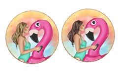 Mode-Illustration des küssenden Flamingofloßes des Mädchens Lizenzfreies Stockbild