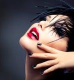 Mode-Kunst-Mädchen-Porträt Stockfotos