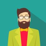 Mode masculine de style de hippie d'homme d'avatar d'icône de profil Photos stock