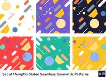 Mode Memphis Style Geometric Pattern de hippie Images libres de droits