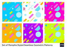 Mode Memphis Style Geometric Pattern de hippie Photos stock