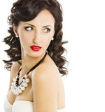 Mode-Modell-Beauty Portrait Brunette-Frauen-Weiß lizenzfreie stockbilder