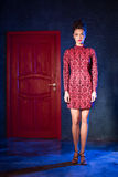 Mode-Modell in einem roten Kleid auf einem Hintergrund der Tür Beauti Stockfotografie