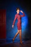 Mode-Modell in einem roten Kleid auf einem Hintergrund der Tür Beauti Lizenzfreies Stockbild