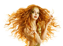 Mode-Modell Hair Style, Frauen-lange wellenartig bewegende Frisur, Weiß lokalisiert stockfotos