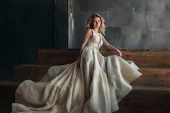 Mode-Modell im langen Kleid auf dem Metallhintergrund Stockbild