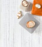 Mode-Modell Jewelry Weinleseschmuckhintergrund Schöne Weinleseminiaturbroschen und -Schmuckkästchen auf weißem Hintergrund Flache lizenzfreie stockfotos