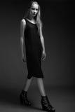 Mode-Modell mit dem langen Haar, schöne Augen, perfekte Haut wirft im Studio für Zaubertest-Fotoaufnahmevertretung auf Stockbild