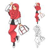 Mode musulmane de fille utilisant le voile ou l'écharpe vert avec la guêpe et les bottes illustration de vecteur