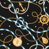 Mode-nahtloses Muster mit goldenen Ketten und Anker für Gewebe-Entwurf Marine Background mit Seil, Knoten, Flaggen stock abbildung