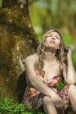 Mode och skönhetbegrepp och idéer Stående av den sinnliga Caucasian kvinnan Fotografering för Bildbyråer