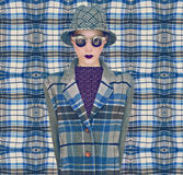 Mode-Plaid Womаn stockfotos