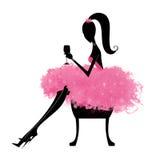 Mode-Schattenbild eines hübschen Mädchen-Sitzens Stockbilder