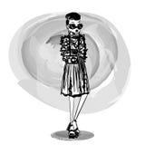 Mode skissade den stilfulla flickaillustrationen för vektorn med en skissad stilfull modemodell Royaltyfri Bild
