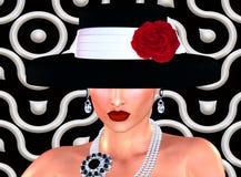 Mode skissar, den attraktiva kvinnan i klänning för tappningstilsvart, och hatten i vår 3d framför digital konststil Arkivbilder