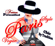 Mode skissar, den attraktiva kvinnan i klänning för tappningstilsvart, och hatten i vår 3d framför digital konststil Fotografering för Bildbyråer