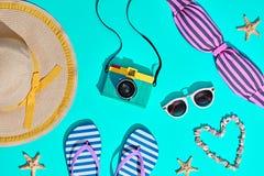 Mode Sunny Summer Beach Set Varm strandVibes Royaltyfria Bilder