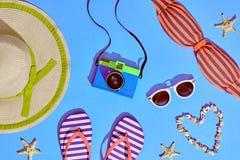 Mode Sunny Summer Beach Set Varm strandVibes Royaltyfria Foton