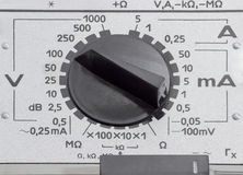 Mode switch of the old analog multimeter closeup Royalty Free Stock Photos