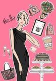 Mode, te och kaffe royaltyfri illustrationer