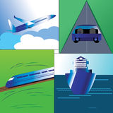 Mode of transport. Illustration of Major mode of transport in the world.Airways,Rail,four wheeler in a Roadway and sailing Ship royalty free illustration