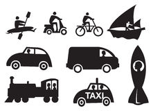 Mode of Transportation Vector Icon Set Stock Photography