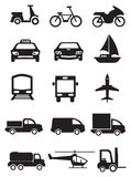 Mode of Transportation and Vehicles Vector Icon Set. Vector icons of vehicles for different mode of transportation. Black icons isolated on white background Royalty Free Stock Image