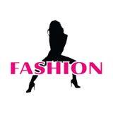 Mode und schwarzes Mädchenvektorschattenbild Lizenzfreie Stockbilder