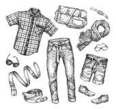 Mode Vektorsamling av att bekläda för män Hand-dragit skissa skjortan, omslaget, kortslutningar, skor, kängor, jeans, flåsanden,  royaltyfri illustrationer