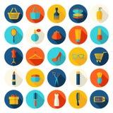 Mode, Verkauf und kaufende flache Ikonen Stockbilder