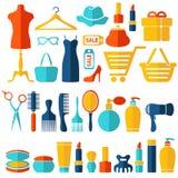 Mode, Verkauf und kaufende flache Ikonen eingestellt Stockbilder