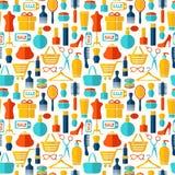 Mode, Verkauf und kaufender nahtloser Hintergrund Stockbilder