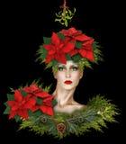 Mode-Weihnachtsphantasie mit Mistelzweig und Poinsettias stockbilder