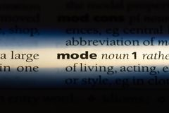 Mode. Word in a dictionary.  concept stock image