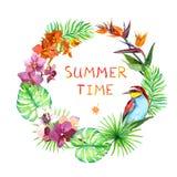 Modebegrepp - blom- krans Tropiska sidor, den exotiska fågeln, orkidé blommar Ljust nytt, löst vattenfärg Arkivbilder