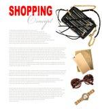 Modebegrepp med affärsdamtillbehör Kvinnlig shopping Royaltyfri Foto