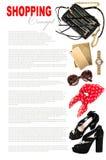 Modebegrepp med affärsdamtillbehör Kvinnlig shopping Arkivbilder