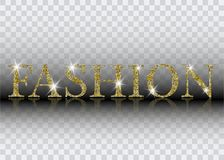 Modebeschriftung Funkelnde Vektorbuchstaben der Goldglänzenden Mode Kann für Druck verwendet werden: Taschen, T-Shirts, Hauptdeko Lizenzfreie Stockbilder