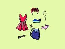 Modebild von Kleidung und von Zubehör Lizenzfreies Stockfoto