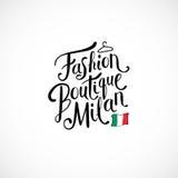 Modeboutique Milan Concept på vit Arkivbilder